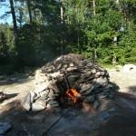 Kalkmeiler während des Brennens